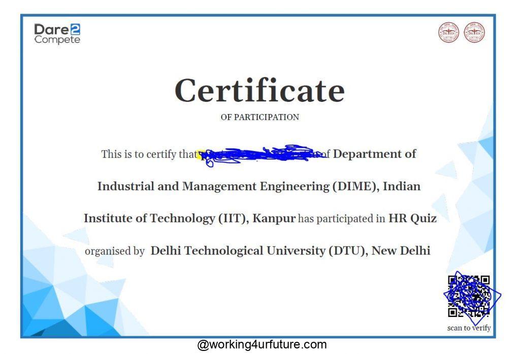 dare2complete participation certificate